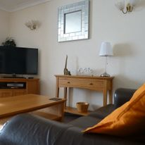 The lounge: comfortable seating and a TV with freeview